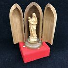 Vintage ANRI Hand Carved Wooden Bullet Madonna Virgin Mary with Baby Figurine