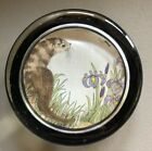 Vintage Glass Paperweight Watercolor Under Glass Otter Iris flowers dragonfly