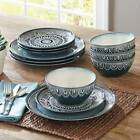 Christmas Dinnerware Set 24 Piece Dinner Plate Dishes Service for 8 Teal Medalli