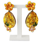 DOLCE  GABBANA Earrings Gold Crystal Fiori Floral Clip On Dangling RRP 800