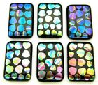 ETCHED Lot 6 pcs RECTANGLE DICHROIC FUSED GLASS pendant P13 CABOCHON HANDMADE