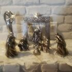 Beautiful Pewter Resin Nativity Scene 8 piece contemporary set SLIGHTLY USED