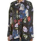 Free People Black Floral Satin Tunic Top