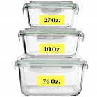 Extra Large Glass Food Storage Containers with Airtight Lid 6 Pc 3 containers