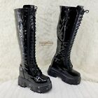 Wang Black Patent Punk Goth Rock 2 Platform 45 Wedge Lace Up Knee Boots
