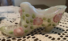 Fenton Art Glass White Hand Painted Floral Boot Slipper Shoe Pink Roses Signed