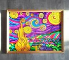 Starry Night Vincent Van Gogh Handpainted stained glass decor Famous art