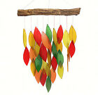 AUTUMN LEAVES GLASS WATERFALL WIND CHIME GLASS  WOOD GARDEN DECOR