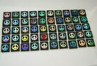 PEACE SIGN SET OF 50 pcs ETCHED DICHROIC GLASS EA3 CBS COE 90 FUSING SUPPLY