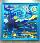 The Starry Night Vincent Van Gogh Handpainted famous art Stained glass decor