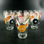 Set of 8 Billiard Pool Ball 16 oz Pint Beer Glasses Bar Game Room Man Cave
