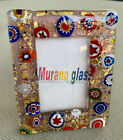 Murano Art Glass Millefiori Italian Pink Gold Flowers Italy Picture Frame Lucite