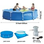 Intex Metal Frame Above Ground Pool Set with Pump  Cover