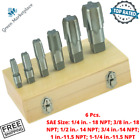 Pipe Taps SAE Custom Pipe Fittings Cleans Rust High Carbon Steel With Case 6 Pcs
