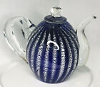 Dale Tiffany Art Glass Teapot Cobalt Blue Paperweight Decor Hand Blown Artisan