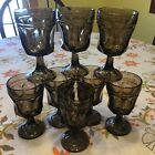 4+4 8 Brown THUMBPRINT Stemmed GLASSES Wine Water GOBLETS Amber 5 1 8 Footed