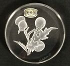 Vtg Val St Lambert Signed Crystal THISTLE Cut Glass Paperweight Belgium Label