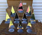 Lillian Vernon Metal Mirrored Glass Triangles Candle Holder Rustic Bronze