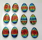 RAINBOW set of 12 DROP DICHROIC FUSED GLASS O11 MOSAIC PENDANT CABOCHONS