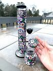 Collectible tobacco glass water pipe 12in Millefiori Rainbow Flowers with Black
