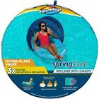 SwimWays Spring Float Recliner Pool Lounge Chair with Adjustable Canopy and H