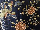 Vintage Retro Chinoiserie Floral Bird Polished Cotton Fabric Navy Blue Rust