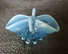 Vintage Fenton Small Blue Opalescent Pinched Art Glass
