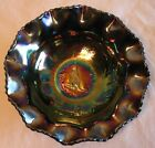 Spectacular Australian Crown Crystal Amethyst Carnival Glass Kangaroo Bowl