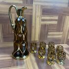 Tan Czech Bohemian glass decanter and glasses 8 Drinkware Antique