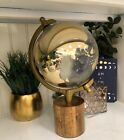 Gold World Map Globe With Wood Base Home Decor