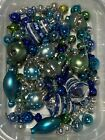 Vtg  Czech Radko Mercury Glass Beads From Garland For Icicles Blue Green Silver