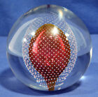 Large Vintage Glass Paperweight Signed Val St Lambert R Carriere Red Bubbles