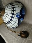 Tiffany Style Hanging Lamp Stained Glass Leaded Light Ceiling Cobalt Blue 20x15