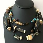 Chicos Multi Strand String Beaded Chunky Vintage Statement Necklace
