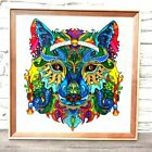 Totem animal wolf art Stained glass original painting Abstract rainbow animal
