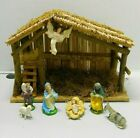 Nativity Handcrafted Wood Creche Stable Christmas and 8 Figurines Italy