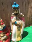 Vintage 35 Plastic Christmas Nativity Pink Tall Wise Man Blow Mold Light