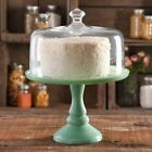 Timeless Beauty 10 Inch Mint Green Cake Stand with Glass Cover