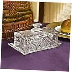 Covered Glass Butter Dish  Classic 2 Piece Design Butter Dish with Lid Crystal