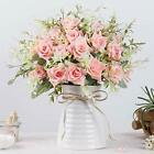 LESING Roses Artificial Flowers with Vase Fake Silk Flower Bouquet in Vase We