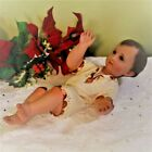 Baby Jesus Statue Nativity Set Piece Glass Eyes 12 inch Gown Gold Copper Accents