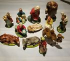 Set Of 11 Vintage Hard Plastic Nativity Scene Figurines Made In Italy Free Ship
