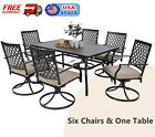7 Piece Patio Outdoor Dining Sets Swivel Chairs with Cushion and Metal Table