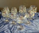 Vintage IRIDESCENT Set of 8 Glasses 4 Water and 4 Wine Stemware Glasses
