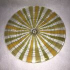 Signed Higgins Glass Mid Century 825 Dish Yellow  Green Stripes w Gold Accent