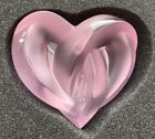 Authentic Lalique Pink Crystal Entwined Knotted Heart Paperweight New in Box