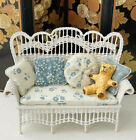 Lee McCurley Wicker Settee W Floral Upholstery Artisan Dollhouse Miniature