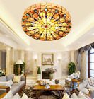 Tiffany Style Stained Glass Peacock Tail Chandelier Flush Mount Ceiling Lighting