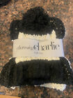 Charming Charlie Black And White Knit Scarf Set With Ski Cap Beanie. New.