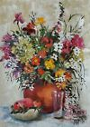 YARY DLUHOS ORIGINAL OIL PAINTING Still Life Flowers Fruit Glass Kitchen Bouquet